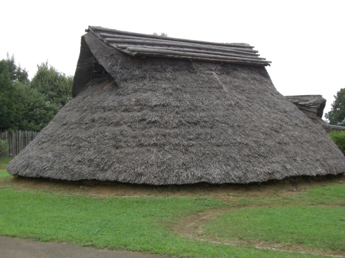 Flared roof of chieftain's residence, Otsu village