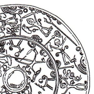 Closeup sketch of motifs on bronze mirror, Gunma prefecture (Tokyo National Museum)