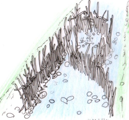 Artist's impression of what Jomon river weir looked like