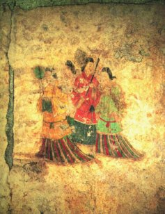 Wall mural painting of women in Chinese dress in the Takamatsuzuka Kofun tomb
