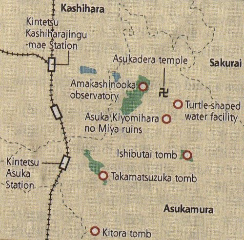 Asukamura is about 45 minutes by train from Kintetsu Abenobashi Station in Tennoji Ward, Osaka and 90 minutes from Kintetsu Kyoto Station