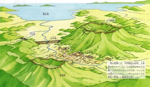 (1) Dazaifu (2) Ono castle (3) Water Fortress