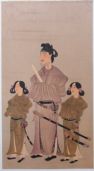 Prince Shotoku flanked by younger brother (left: Prince Eguri) and 1st son (right: Prince Yamashiro), Woodblock painting