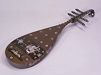 Five stringed biwa musical instrument, design of camel rider in mother-of-pearl inlay. Copied from the 8th century original of Nara period