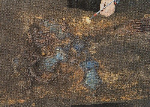 The set of ancient horse trappings uncovered at Tsutsumikata Gongendai burial mound in Ota Ward, Tokyo