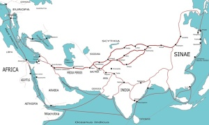 Silk Road network at 1AD (largely applicable between 500BC and 500 AD) and the trail between Changan and Nara (Wikipedia)