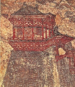 Que walled-towers of Tang-era Chang'an, as depicted in this 8th-century mural from Li Chongrun's (682–701 AD) tomb at the Qianling Mausoleum in Shaanxi