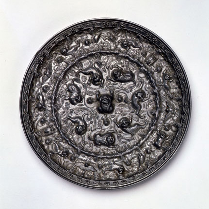 Mirror with Sea Creatures and Grape Vines, Tang Dynasty (Kyoto National Museum)