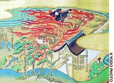 A scroll depicts the burning of the Soga residence