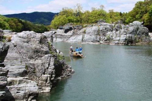 Arakawa river limestone cliffs