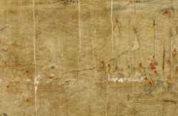 A part of China's scroll is pictured, with Wako pirates, left, and the Ming Dynasty navy, right, caught in battle.