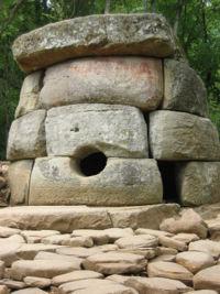 A dolmen in the Caucasus complex, Zhane river , Russia