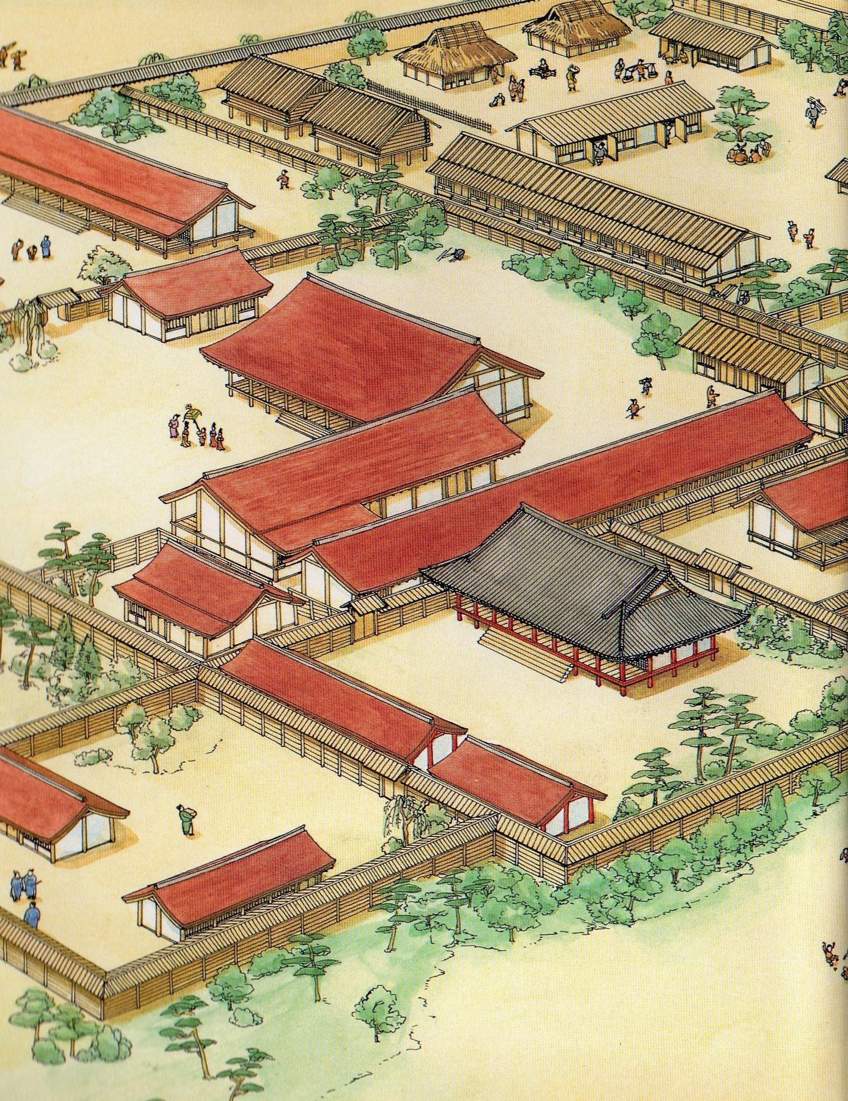 Japanese Garden Drawing Kyoto Japan