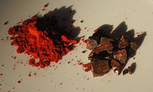 Cinnabar, a powdered mineral pigment also known as Dragon's blood