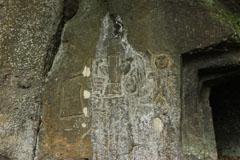 Relief etchings by the entrance of the Nabeta Yokoana Kofun in Kumamoto Prefecture