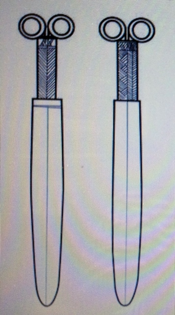An artist's rendition of daggers the molds would have produced (Provided by the Shiga Prefectural Board of Education)
