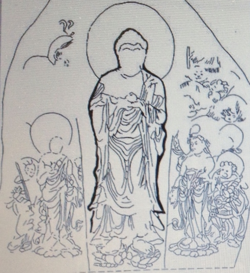 An illustration shows what the Yakushi Nyorai stone sculpture might have looked like when it was first created. (Provided by Sango town research group)