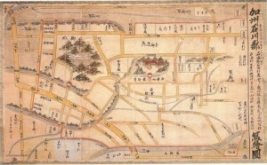 Ujiko Chizu (the Map of Ujiko) The map shows the locations of feudal warriors' residences, temples and shrines, towns, villages, slopes, and bridges, giving an idea of what the castle town of Kanazawa used to look like. Image credit: www.city.kanazawa.ishikawa.jp