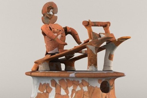 City of Shimotsuke education board A terracotta image of a person weaving silk with a loom. The figurine was found in a sixth-century burial mound in Shimotsuke, 50 miles north of Tokyo.