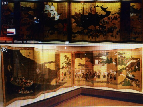 Photographs of the two pairs of screens belonging to the Momoyama period a. MNAA-Naizen; b. MNAA-Domi