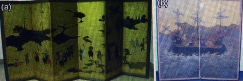 Photographs of the two screens belonging to the Edo period a MO; b private