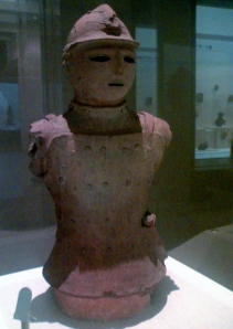 Haniwa terracotta figurine of warrior with armour detail