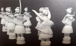 Reconstruction of miko maidens in ceremonial procession