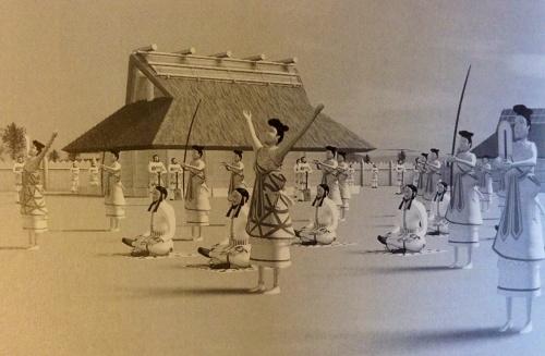 Recreated scene of festive ceremonial life from Kofun tumuli haniwa