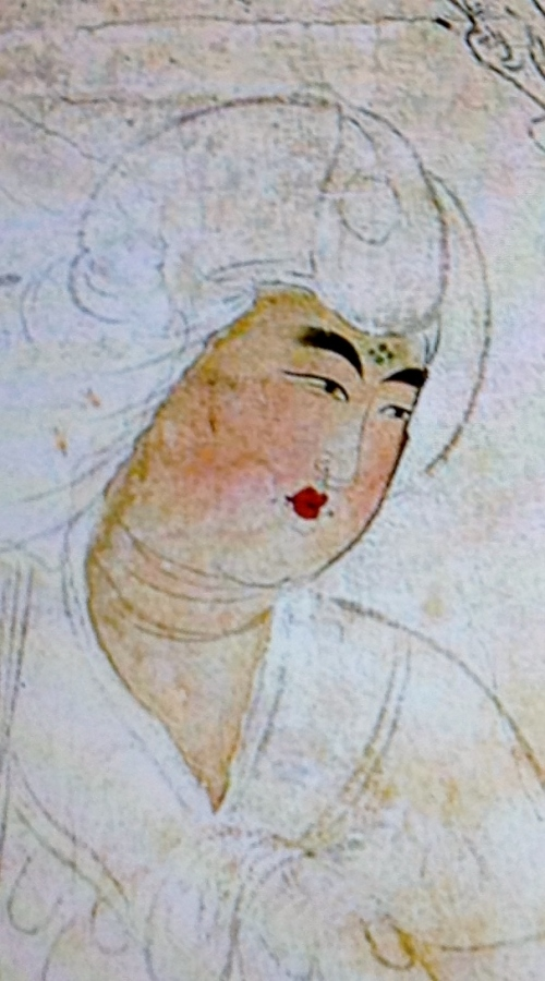 "The face of the court lady depicted in ""Torige Ritsujo no Byobu"" panel No. 2"