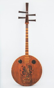 """Kuwanoki no genkan"" This rare lute of mulberry wood is probably from China and is inscribed with the words Todaiji on the back. Courtesy of the office of the Shoso-in, Imperial Household Agency"
