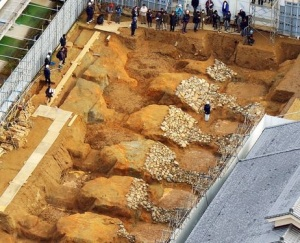 An aerial view of newly discovered remains at the burial mound Photo:  Kazunori Takahashi