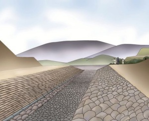 An artist rendering of how the burial mound originally looked (Provided by the Archaeological Institute of Kashihara)