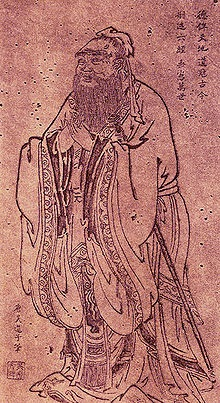 Master Kong or Confucius painted by Wu Daozi, a Tang Dynasty artist