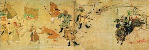 Depiction of the samurai Takezaki Suenaga repelling Mongol and Korean arrows and bombs at Hakata Bay.